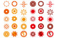 Various logo designs in red and orange colors isolated over whit on white useful for designers creations available as editable Stock Images