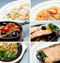 Various main course meals a collage of beautifully styled including pasta vegetables meat and fish Stock Image