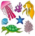 Various marine animals collection 2 Royalty Free Stock Photo