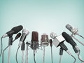 Various microphones Royalty Free Stock Photo