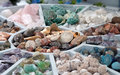 Various Minerals on sale Royalty Free Stock Photos