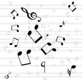 Various music notes on stave illustration Royalty Free Stock Images