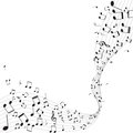 Various music notes on stave illustration Stock Photo