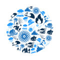 Various natural disasters problems in the world blue icons in circle eps10 Royalty Free Stock Photo