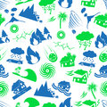 Various natural disasters problems in the world icons seamless pattern eps10