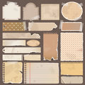 Various old remnant pieces of paper scrapbook an brown and note board create by vector Royalty Free Stock Photography