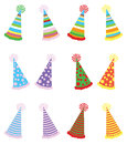 Various party hats pack a illustrations of with three different textures and four different color variations Royalty Free Stock Photos
