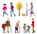 Various people activity in autumn vector illustration of Royalty Free Stock Photo