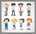Various persons illustration of on a white background Stock Images