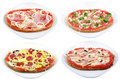 Various pizza plates Royalty Free Stock Photo