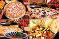 Various pizza and summer salad Royalty Free Stock Photo