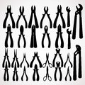 Various pliers silhouettes hand tools collection vector clip art Stock Images