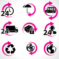 Various postage and support related icons Royalty Free Stock Photos