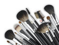 Various professional makeup cosmetic brushes isolated on white background Royalty Free Stock Photo