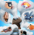 Various professions imagination men head in clouds imagines Royalty Free Stock Images