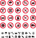 Various prohibitory signs isolated on white background Royalty Free Stock Image