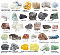 Various raw mineral stones with names isolated