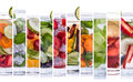 Various refreshing infused water from tropical fruit a portrait of Royalty Free Stock Photo