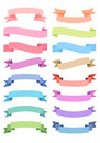 Various ribbon set colorful flat design elements Royalty Free Stock Images