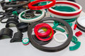 Various rubber products and sealing products at the exhibition stand Royalty Free Stock Photo