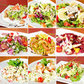 Various salads collage Royalty Free Stock Photo