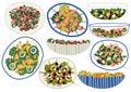 Various Salads Set, Appetizing Healthy Dishes with Fresh Vegetables, Mushrooms, Shrimps, Olives, Salad Leaves Vector