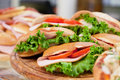 Various sandwiches on a shop counter Stock Photography