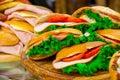 Various sandwiches on a shop counter Royalty Free Stock Photos