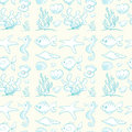 Various sea animals and plants illustration of on white background Royalty Free Stock Image