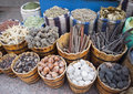 Various sea related souvenirs on street market Royalty Free Stock Photo