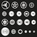 Various silver metal cogwheels parts of watch movement eps10 Royalty Free Stock Photo