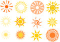 Various simplistic sun illustrations Royalty Free Stock Photo