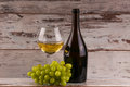 Various sorts of cheese, grapes and two glasses of the white wine Royalty Free Stock Photo