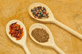 Various spices on a wooden spoon Royalty Free Stock Photography