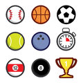 Various sport icons balls and accessories vector illustration Royalty Free Stock Photography