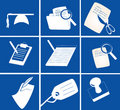 Various stationery icons Royalty Free Stock Photos