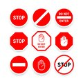 Various stop signs collection in red and white for the driver Royalty Free Stock Photo