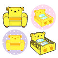 Various styles of baby crib and sofa sets baby and children goo goods vector icon series Stock Photography