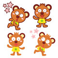 Various styles of bear mascot sets animal character design seri series Royalty Free Stock Photo