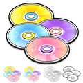 Title: Various styles of Compact Disk Sets. Household Items Vector Icon