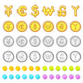Various styles of gold coin sets economy and finance vector ico icon series Stock Photo