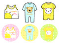 Various styles of rompers and tshirt sets baby and children goo goods vector icon series Royalty Free Stock Images