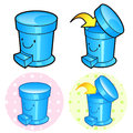 Title: Various styles of Wastebasket Sets. Household Items Vector Icon