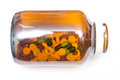 Various tablets pills in bottle Royalty Free Stock Photo