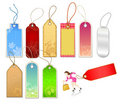 Various Tags and Businesswoman Figure Royalty Free Stock Photo