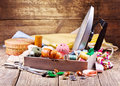 Various threads, iron and sewing tools Royalty Free Stock Photo
