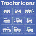 Various Tractor and Construction Machinery Icon set blueprint stylized