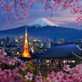 Various travel destination in japan tokyo tower mt fuji kiyomizu dera temple you can use for your brochures Stock Image
