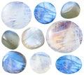 Various tumbled moonstone (adularia) gem stones Royalty Free Stock Photo