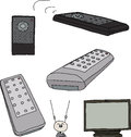 Various TV Remote Controls Stock Photo